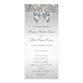 Faux Silver Sequins Bow Wedding Program Rack Card Template