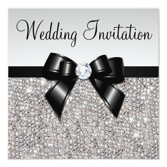 Faux Silver Sequins Diamonds Black Bow Wedding Card