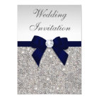 Faux Silver Sequins Diamonds Navy Bow Wedding Card