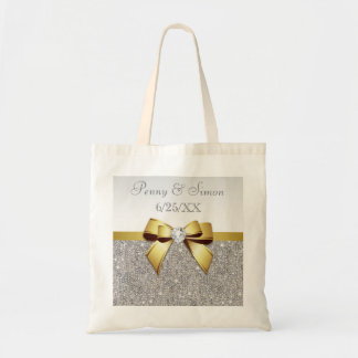 Faux Silver Sequins Gold Bow Wedding Favor Tote Bag