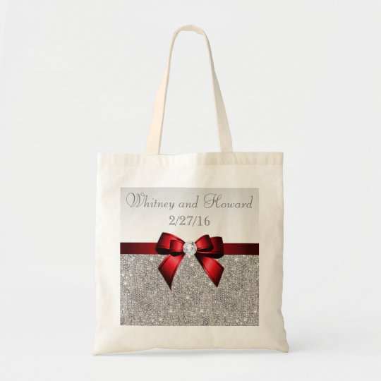 Faux Silver Sequins Red Bow Wedding Favour Tote Bag