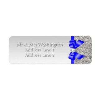 Faux Silver Sequins Royal Blue Bow and Diamond Return Address Label