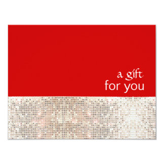 FAUX Silver Sequins Salon Holiday Gift Certificate Card