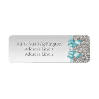 Faux Silver Sequins Teal Blue Bow and Diamond Return Address Label