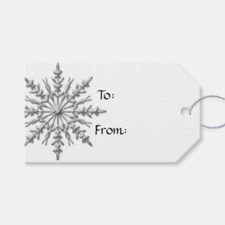 Faux Silver Snowflake on White Pack Of Gift Tags