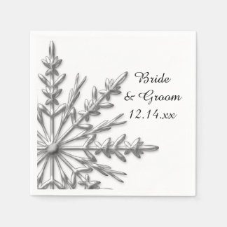 Faux Silver Snowflakes Winter Wedding Disposable Napkin