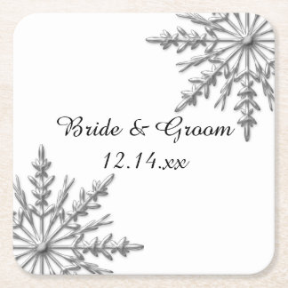 Faux Silver Snowflakes Winter Wedding Square Paper Coaster
