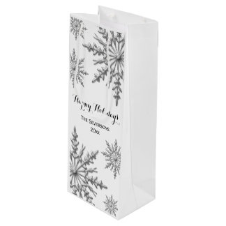 Faux Silver Winter Snowflakes Happy Holidays Wine Gift Bag