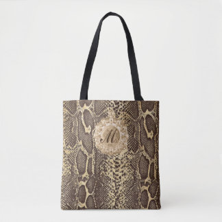 Faux Snake Skin Antique Charm Initial Tote Bag