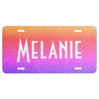 Faux Soft Color Glitter License Plate