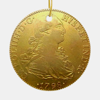 Faux Spanish Gold Doubloon Christmas Ornament