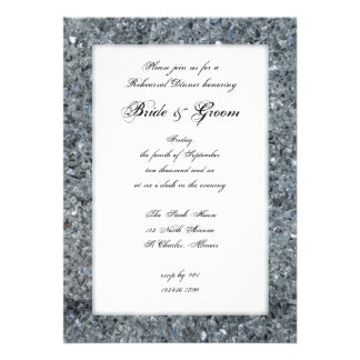 Faux Sparkle Wedding Rehearsal Dinner Invite
