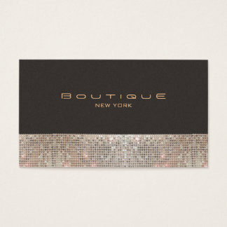 FAUX Sparkling Sequins and Suede Fashion Boutique Business Card