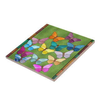 Faux stained glass butterfly tile