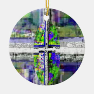 Faux Stained Glass Cross Round Ceramic Ornament