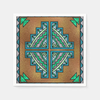 Faux stained glass Southwestern party paper napkin