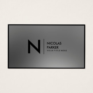 Faux Stainless Steel Inox Metal Monogram Framed Business Card