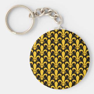 Faux Stone Gold Fleur de lis Basic Round Button Keychain