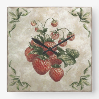 Faux Strawberries Tile Clock