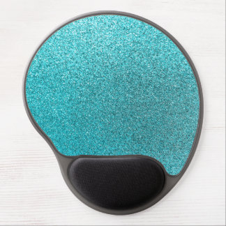 Faux Teal Blue Glitter Background Sparkle Texture Gel Mouse Pad