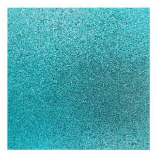 Faux Teal Blue Glitter Background Sparkle Texture Poster