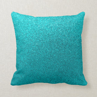Faux Teal Blue Glitter Background Sparkle Texture Throw Pillow