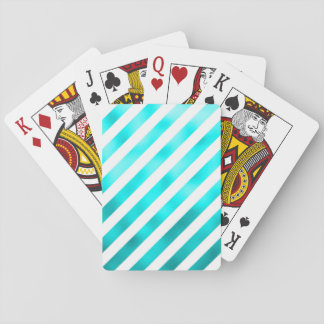 Faux Teal Blue White Diagonal Aqua Stripes Striped Playing Cards