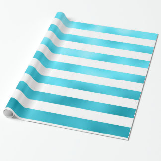 Faux Teal Blue White Horizontal Aqua Stripes Wrapping Paper