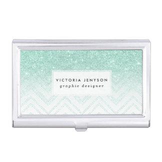 Faux teal glitter ombre modern chevron pattern business card holder