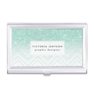 Faux teal glitter ombre modern chevron pattern business card holders