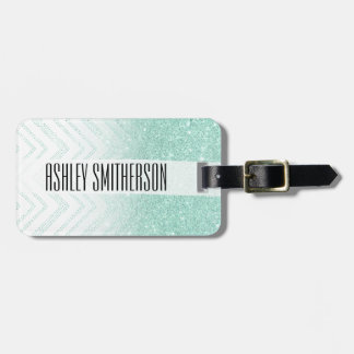 Faux teal glitter ombre modern chevron pattern luggage tag
