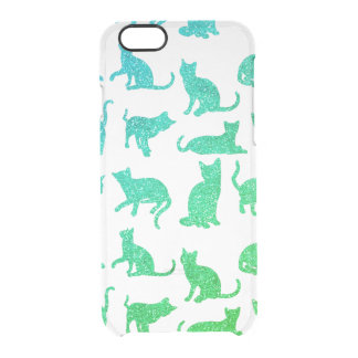 Faux Teal/Green Glitter Cat Clear iPhone 6/6s Case
