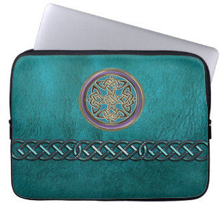 Faux Teal Leather With Celtic Knot Laptop Sleeve