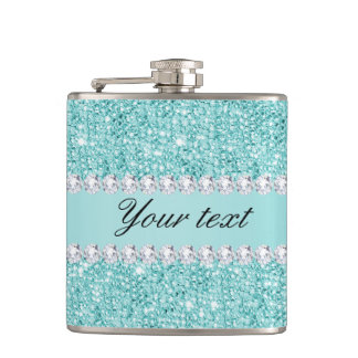 Faux Teal Sequins and Diamonds Flask