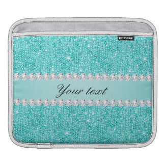 Faux Teal Sequins and Diamonds iPad Sleeve