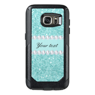 Faux Teal Sequins and Diamonds OtterBox Samsung Galaxy S7 Case