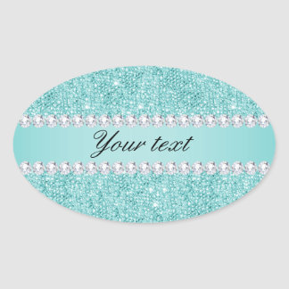 Faux Teal Sequins and Diamonds Oval Sticker