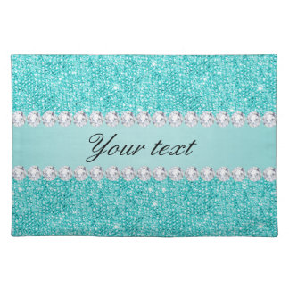 Faux Teal Sequins and Diamonds Placemat