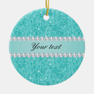 Faux Teal Sequins and Diamonds Round Ceramic Ornament