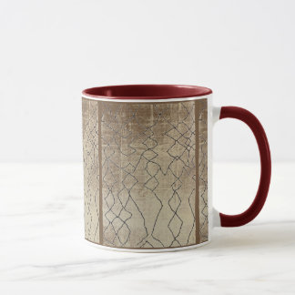FAUX TEXTILE BURNT WOOD NATURAL TONES MUG
