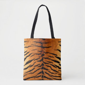 Faux tiger fur all over print tote bag