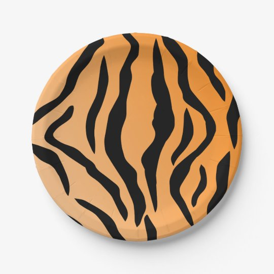 Faux Tiger Print 7 Inch Paper Plate