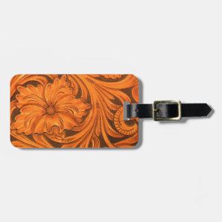 Faux Tooled Leather Horse Saddle Luggage Tag
