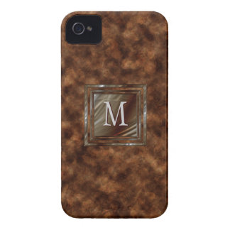Faux Tortoise Shell Upscale Masculine Monogrammed iPhone 4 Cover