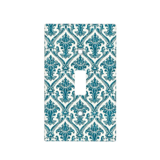 Faux Turquoise Blue Glitter Damask Floral Pattern Light Switch Cover
