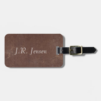 Faux Vintage Brown Leather Luggage Tag