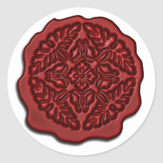 Faux Wax Seal, Red Round Stickers