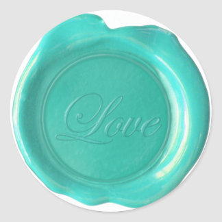 Faux Wax Seals - Blue Teal Script - Love Round Sticker