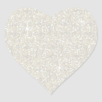 Faux White Glitter Confetti Heart Sticker