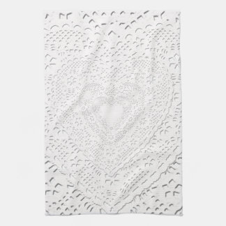 Faux White Lace Fabric Background Hand Towel